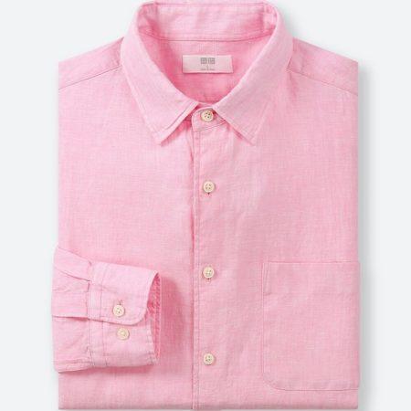 ユニクロ プレミアムリネンシャツ(12 PINK)