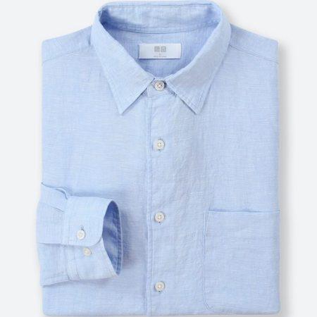 ユニクロ プレミアムリネンシャツ(61 BLUE)