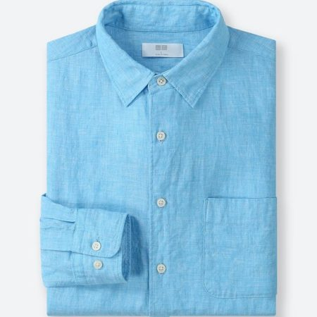 ユニクロ プレミアムリネンシャツ(63 BLUE)