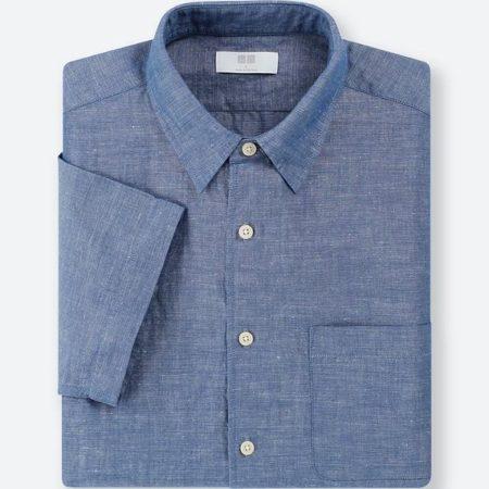 リネンコットンシャツ(半袖)67 BLUE
